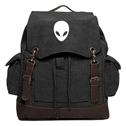 Sci-Fi Alien Head Vintage Rucksack Backpack with Leather Str