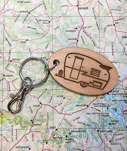 Shasta Vintage Travel Trailer Oval Alder Wood Key Fob, Retro