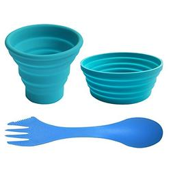 Ecoart Silicone Collapsible Bowl Cup Set with Spork for Outd