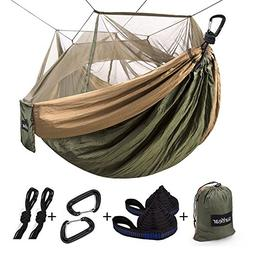Single & Double Camping Hammock with Mosquito/Bug Net, 10ft