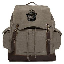 Smokey Bear Vintage Canvas Rucksack Backpack with Leather St