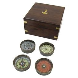 Armor Venue Solid Brass Compass Set with Wooden Box Outdoor