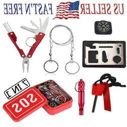 SOS Emergency Tools Survival Outdoor Set Box Gear Pack Campi