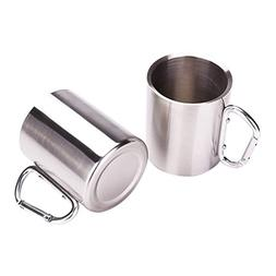 Tebery Stainless Steel Double Walled Mug with Carabiner Hand