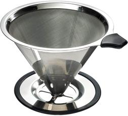 Stainless Steel Pour Over Coffee Cone Dripper With Cup Stand