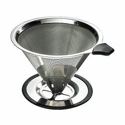 Yitelle Stainless Steel Pour Over Coffee Cone Dripper With C