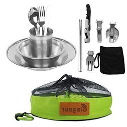 Bisgear 13pcs Stainless Steel Tableware Mess Kit Includes Pl