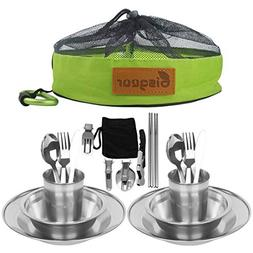 Bisgear 20pcs Stainless Steel Tableware Mess Kit Includes Pl