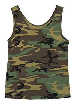 Rothco Women's Stretch Tank Top, Woodland Camo, Small