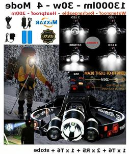 Super Bright Hiking Camping Gear Head Lamp Rechargeable Flas