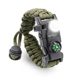 LeMotech Adjustable Survival Paracord Bracelet - Tactical Em