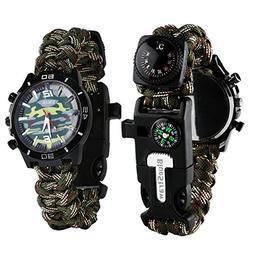 Survival Bracelet Watch, Men/Women Waterproof Emergency Surv