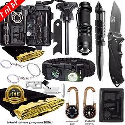 Survival Gear Kit – 14 in 1 Camping EDC Survival Gear Box,