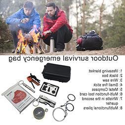 Survival Kit, Emergency Survival Kits 8 in 1 Multi-Purpose E
