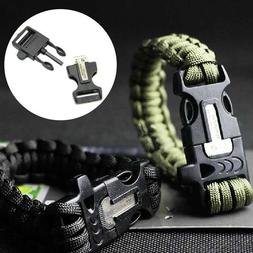 Survival Tactical Bracelet Camping Outdoor Paracord Whistle