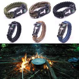 Survival Tactical Bracelet Outdoor Paracord Scraper Whistle