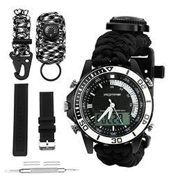 Digital Survival Sport Watch - Waterproof Emergency Military