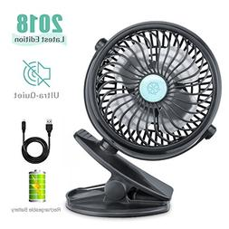 REENUO Table Fans Clip Rechargeable Battery Operated Mini De
