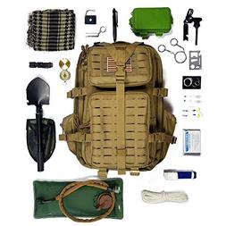 Tactical Backpack + Hydration Bladder, Pre-Filled with Emerg
