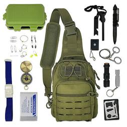 Tactical Sling Bag Survival Kit with Emergency Gear & Tools