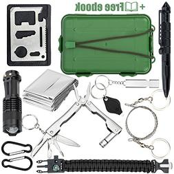 Qualyteo Tactical, Hiking, Camping Survival Kit - 11 in 1 Ou