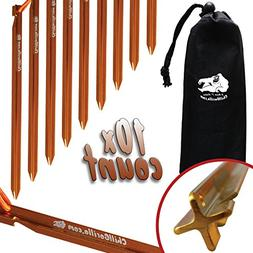 """Chill Gorilla 7"""" 10X Tent Stakes - Heavy Duty Lightweight St"""