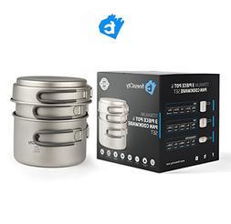 Titanium Camping Cookware Set 3-Piece / 2-Piece Pot & Pan Ou