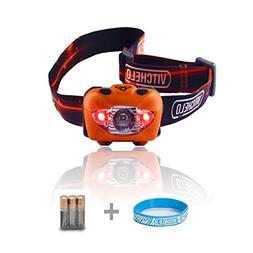 Vitchelo V800 Headlamp Flashlight with Red LED, Orange