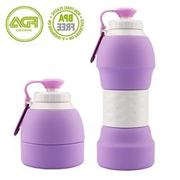 Sports Water Bottles, Collapsible Silicone Water Bottle with