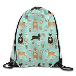 Unisex Waterproof Drawstring Backpack - Shiba Inu Coffee Pri