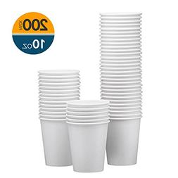 NYHI 200-Pack 10oz White Paper Disposable Cups – Hot/Cold
