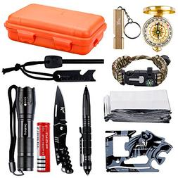 Wildness Survival Gear Kit with 18-in-1 Versatile Tool Card/