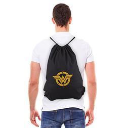 Wonder Woman Logo Eco-friendly Canvas Draw String Bag, Black