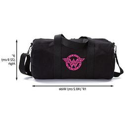 Wonder Woman Logo Heavyweight Canvas Duffel Bag, Black & Gli