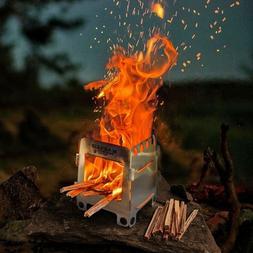 Wood Burning Folding Survival Emergency Stove Fatwood Lightw